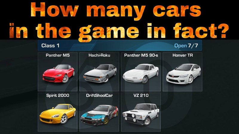 How many cars in the game in fact? | CarX Drift Racing (mobile)