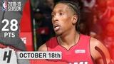 Josh Richardson Full Highlights Heat vs Wizards 2018.10.18 - 28 Points, CLUTCH!