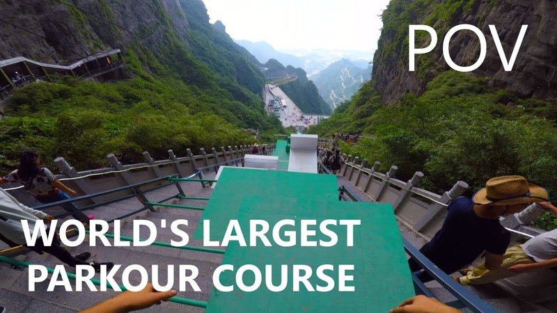 POV Full Run - WORLD'S LARGEST PARKOUR COURSE (China Sky Ladder)