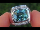 Men's GIA Certified FLAWLESS Natural Blue Zircon Diamond 18k White Gold Gents Ring - A141667