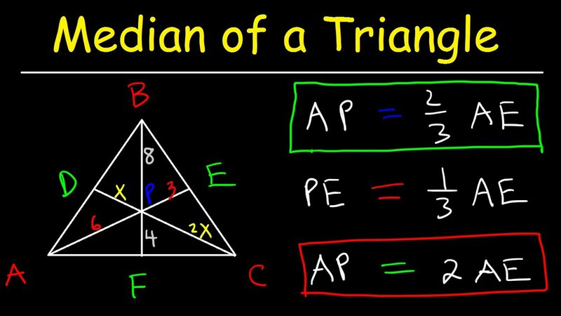 Median of a Triangle Formula, Example Problems, Properties, Definition, Geometry, Midpoint Centroi