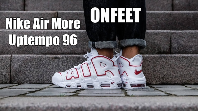 Nike Air More Uptempo 96 White\Scarlet Red Onfeet Review | sneakers.by