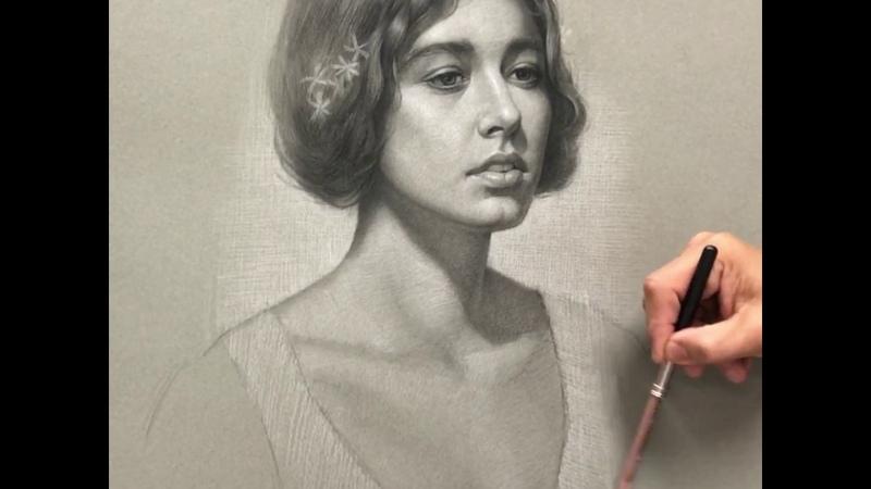 Portrait of Megan - Charcoal and white chalk pencils.