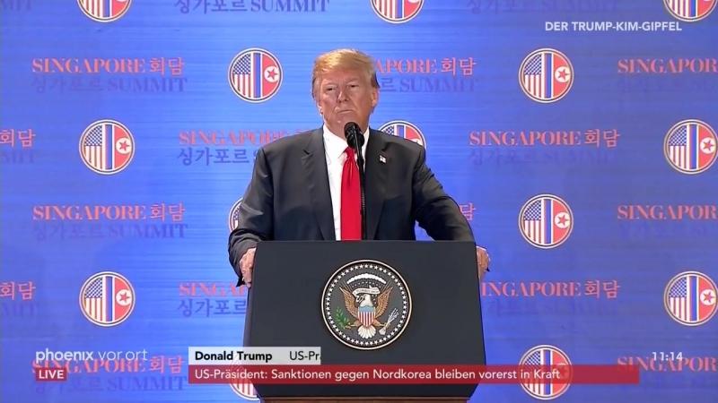 Pressekonferenz- Gipfel in Singapur - Trump erklärt die Ergebnisse des Treffens mit Kim -12-06-2018-