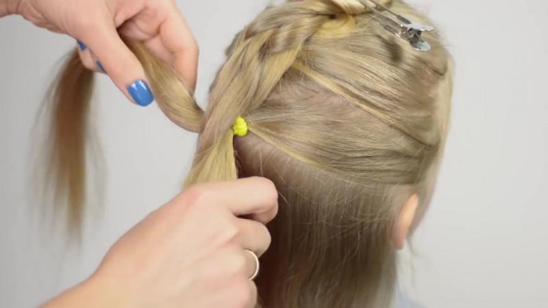 3D коса из резинок без плетения. Простая и быстрая прическа 30