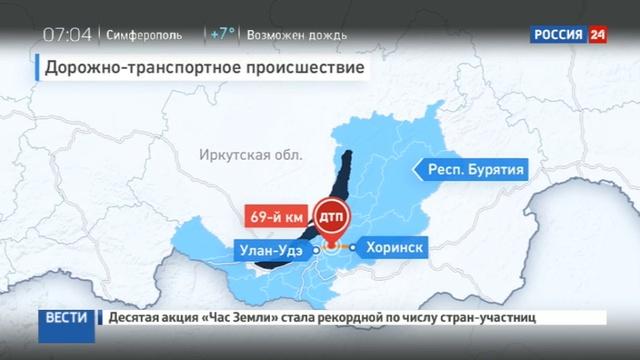 Новости на Россия 24 • В Бурятии иномарка столкнулась с маршруткой: двое погибших, 11 пострадавших