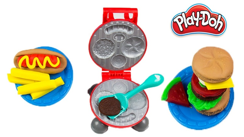 NEW Play Doh Burger Barbecue Grill Playset Pretend Cooking BBQ Hotdog Hamburger French Fries!