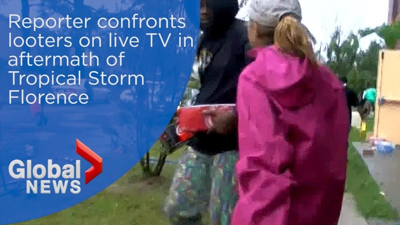 Black racist savages LOOTING on camera in my home state of South Carolina during Hurricane Florence. Hurricane Florence: Reporter confronts people looting in on live TV