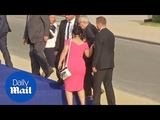 Jean-Claude Juncker stumbles and is helped by leaders at NATO gala