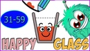Happy Glass 3 Stars ( Level 31 - 59 ) ❤️ Rainbow glass ❤️ Draw lines freely to complete levels!