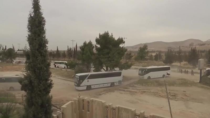 За сутки из Харасты было выведено 3 084 боевика и члена их семей, которые колонной из 59 автобусов перевозятся в провинцию Идлиб