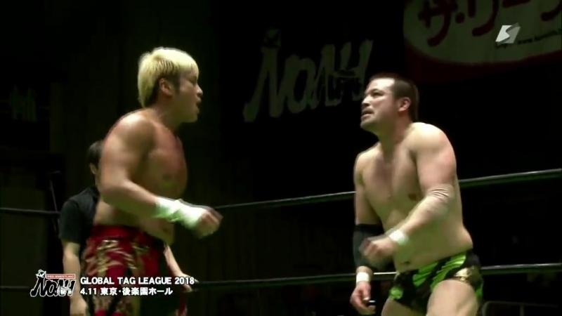 Go Shiozaki, Kaito Kiyomiya vs. Kenou, Takashi Sugiura (NOAH - Global Tag League 2018 - Day 10)