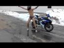 Мото токсикоз, голый мотоциклист зимой