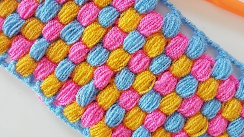 Petekli Fıstık LifBattaniye Honeycomb Puff Stitch Crochet Blanket