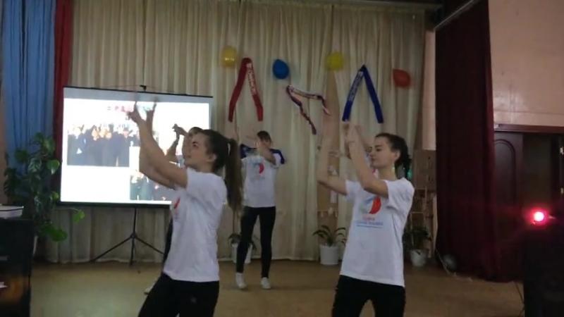 Танец РДШ на встрече выпускников в МОУ Большеключищенской СШ имени В.Н.Каштанкина