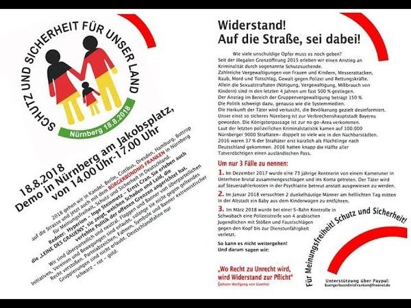 18 08 2018 Demo in Nürnberg Schutz und Freiheit für unser Land