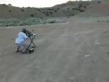 Рикошет в голову 50мм калибр, пуля вернулась в голову, чуть не убив стрелка!