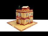 How to Make a Match House with Glue - Matchstick Mansion Building