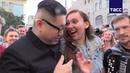 """ТАСС on Instagram: """"Ким Чен Ын приехал на ЧМ2018, прогулялся по Никольской, повеселил народ и нашел себе жену. Представляете, он даже не всегда с ..."""