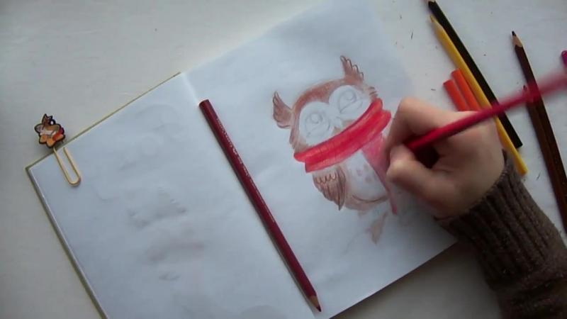 How to draw cute owl _ Как нарисовать милую сову. DARJAART