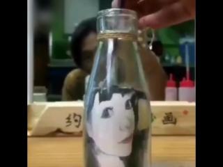 Рисунок с помощью песка и бутылки