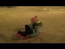 Катаю Зарину на ледянках вокруг ёлки в парке Тукая 01.01.2018 Нижнекамск