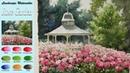 Landscape Watercolor- Rose Garden (Masking technique, wet-in-wet, Arches rough)NAMIL ART