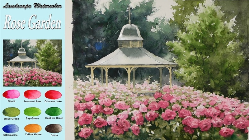 Landscape Watercolor- Rose Garden (Masking technique, wet-in-wet, Arches rough)NAMIL ART