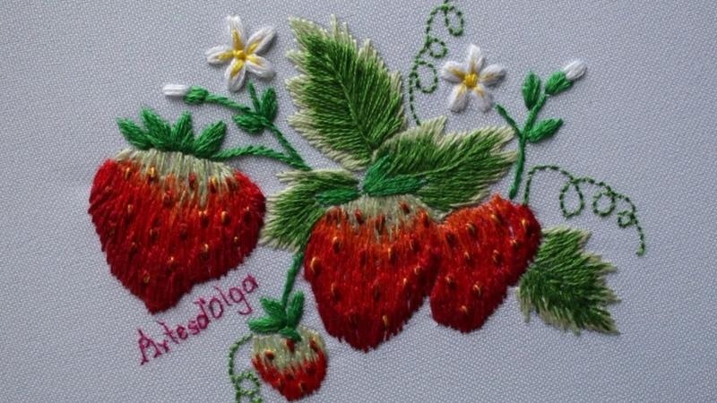 Hand Embroidery: Strawberry design | Fresas Bordadas a Mano | Artesd'Olga