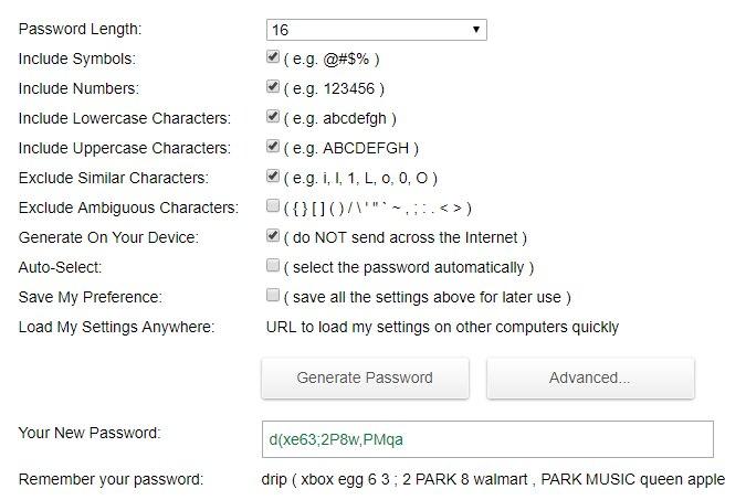 Пример пароля из генератора