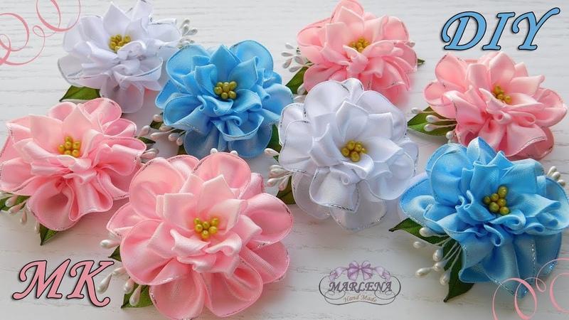 🌺 Цветы из атласных лент. Зажимы для волос. Канзаши МК/DIY