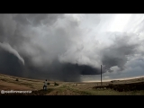 Time-lapse INCREDIBLE tornado roping out, bright white elephant trunk from GoPro