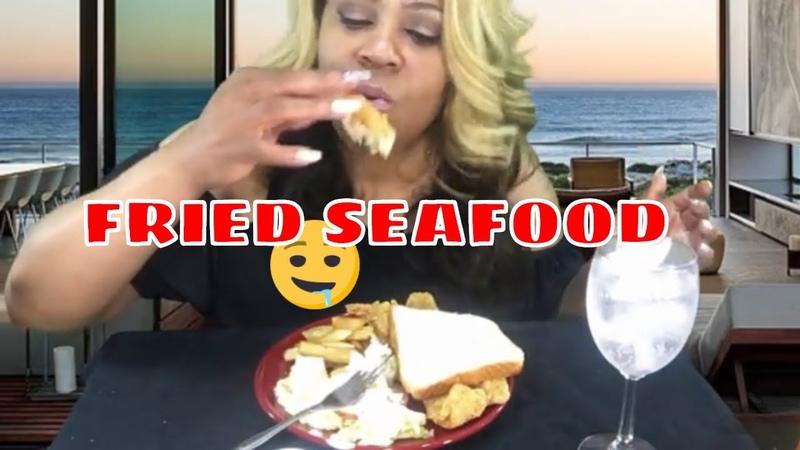 FRIED SEAFOOD MUKBANG 🦐🦀🐟 Chit Chat 📹⚠️🎬Green Screen and Adobe Pro with 1K Yellow Diamond