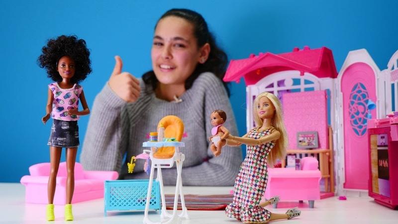 Barbie bebek bakıcı oluyor. Eğlenceli kız oyunları.