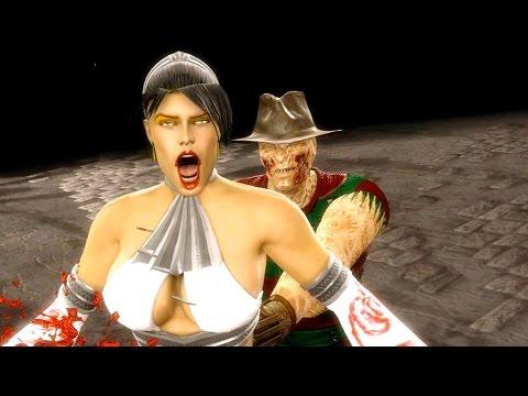 Mortal Kombat 9 - All Fatalities X-Rays on Kitana White Costume Skin Mod 4K Ultra HD Gameplay Mods