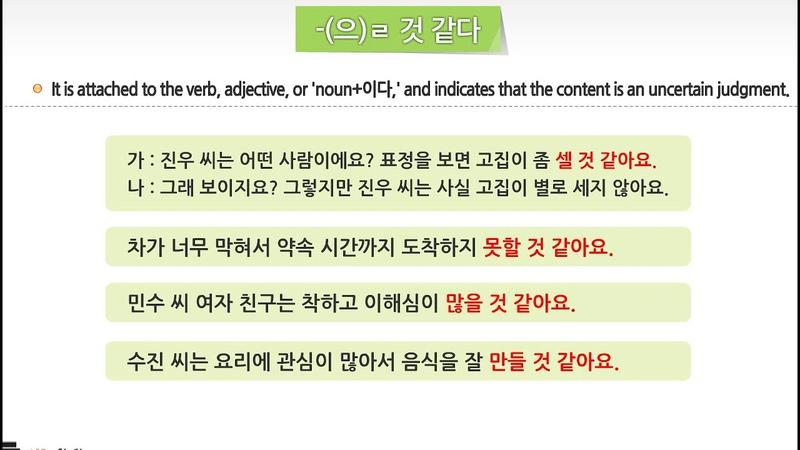 -(으)ㄹ 것 같다 - 세종한국어 4권 13과 성격