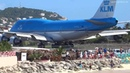 KLM 747 Extreme Jet Blast blowing People away at Maho Beach St Maarten 2014 01 14