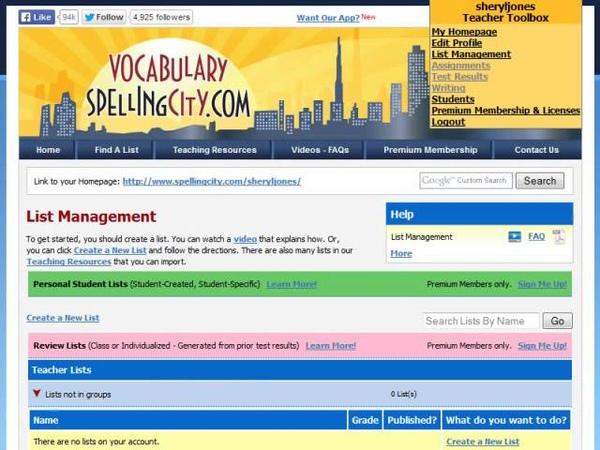 Saving Lists - VocabularySpellingCity