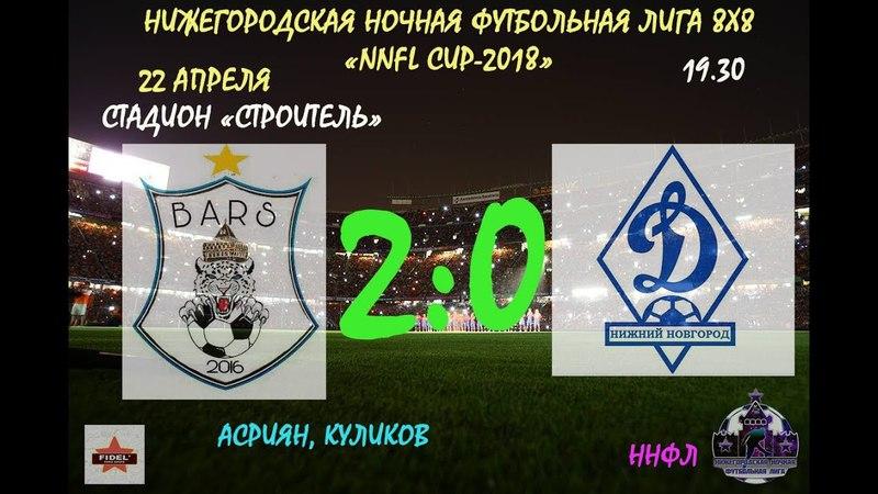 Третий тур.NNFL CUP-2018. Стадион Строитель. FC BARS - ФК ДИНАМО 2:0(1:0)