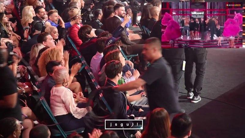 BTS (방탄소년단) Reaction to Kelly Clarkson Medley performance @ BBMA 2018 [FANCAM]