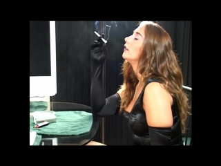 Sexy Girl Smoking in Black Satin Dress