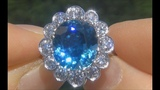 GIA Certified Natural FLAWLESS Blue Zircon &amp Diamond 18k White Gold Vintage Ring - A141671
