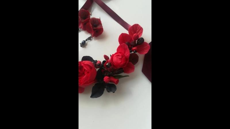 комплект украшений с цветами ручной работы