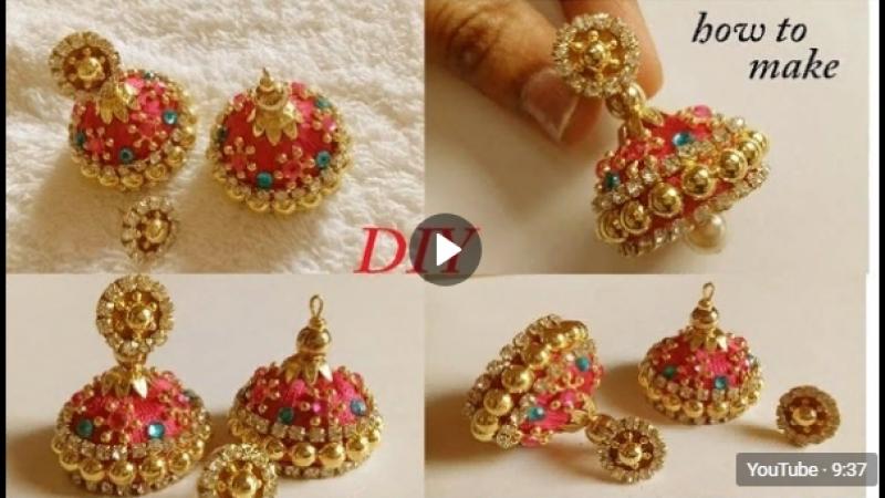 DIY __ how to make designer silk thread bridal jhumka earrings at home __ tutori