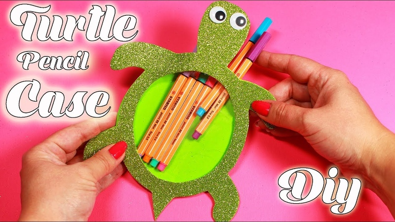 Turtle Pencil Case - DIY Sparkly Foam Sheet - School Supplies