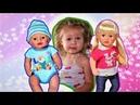 Baby Born Макс и Катя купаются в бассене с Лунтиком и Юху
