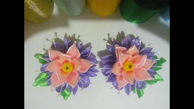 цветок из атласных лент\украшение\канзаши МК\DIY bloemen gemaakt van satijnen lint decoratie