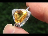 Estate Certified Natural Yellow Sapphire Diamond 14k White Gold Engagement Ring - A141681