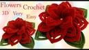 Flores 3D con hojas a Crochet en punto tunecino estilo Irlandés tejido tallermanualperu