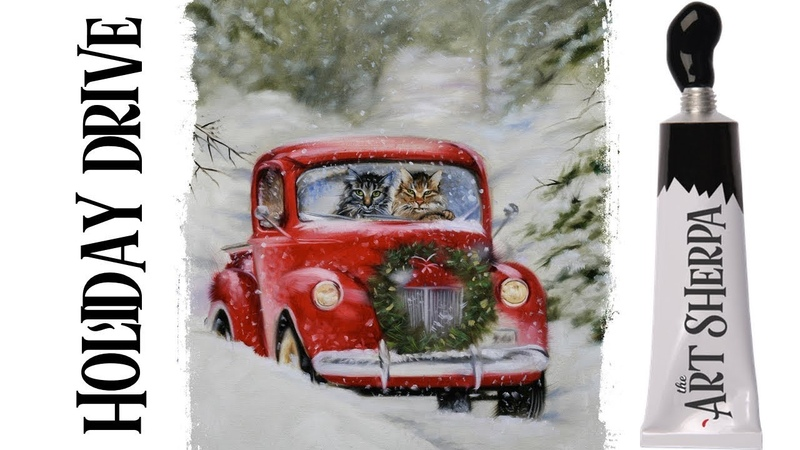 Easy Painting in acrylic Old Truck in Snow Live streaming